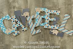 Turquoise Gold and Navy Elephant Nursery Letters Custom