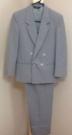 MICHAEL JAMES Suit 14 Regular Gray Double Breasted Jacket Pants Polyester #MichaelJames #DoubleBreastedSuit