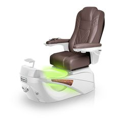 Luminous pedi-spa shown in Walnut Ultraleather cushion, White Pearl base, Aurora LED Color-Changing bowl (shown in green)