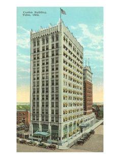 Cosden Building/Mid-Continent Building, 401 South Boston Avenue, vintage 1920s postcard.