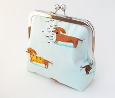 Dachshund Coin Purse, Handmade Vegan Wallet, Cotton Fabric in Light Blue. $32.00, via Etsy.