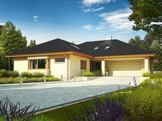 House floor with a loft for later adaptation, basement and a garage for two cars. Steel Frame House, Steel House, Modern Bungalow House, Modern House Plans, Cheap Prefab Homes, Two Storey House Plans, House Plans South Africa, Apartment Balcony Garden, Garage House Plans