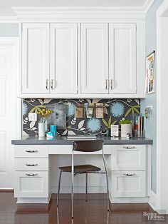 Create a kitchen desk area that is equally convenient and whimsical with the help of a colorful wallpaper-covered bulletin board. Look for discounted styles and update with the season; the easy revision won't fade and is simple to secure.