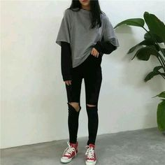 Love these korean fashion outfits 5224171821 me close Edgy Outfits, Retro Outfits, Mode Outfits, Cute Casual Outfits, Fall Outfits, Fashion Outfits, Grunge Winter Outfits, Winter Grunge, Summer Outfits