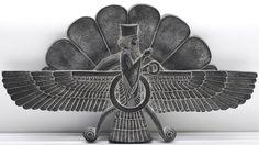 Ancient Persian Faravahar relief.