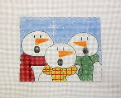 $18.00    Trio of Caroling Snowmen in the Snow Handpainted Needlepoint Canvas Ornament #Unbranded
