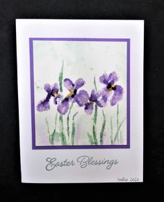 handmade card: Easter Iris by hobbydujour - at Splitcoaststampers . Holiday Cards, Christmas Cards, Easter Flowers, After Christmas, Penny Black, Watercolor Cards, Petunias, I Card, Iris
