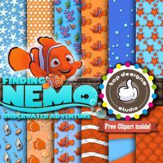 """SALE Finding Nemo Digital Paper : """"Finding Nemo DIGITAL Paper""""- Finding Nemo Clipart, Finding Nemo Scrapbook Paper, Nemo Birthday Invitation"""