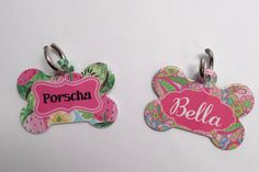 Lilly Pulitzer Inspired Pet Tags by TheInspiredStudio on Etsy https://www.etsy.com/listing/292585989/lilly-pulitzer-inspired-pet-tags