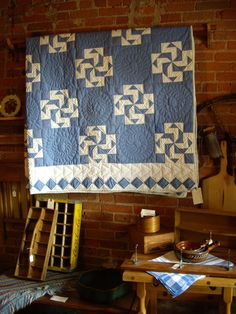 Blue and white Crazy Anne quilt