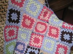 Crocheted Granny squares  baby blanket 'Have a by KnitwitDesignsUK, £25.00