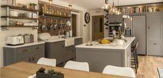 Like the shelves above the cupboards The Cheshire, Farmhouse Kitchen Decor, Cupboards, Home Kitchens, Shelves, Contemporary, Table, Furniture, Home Decor