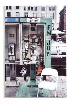 """The phone booth Calle commandeered to record people's reactions to """"a cultivated spot"""" as instructed by Auster in Gotham Handbook. New York City, 2000 Gotham, First Color Photograph, Leslie Allen, Men Are Pigs, Paul Auster, Talk To Strangers, Trash Art, Gelatin Silver Print, Urban Life"""