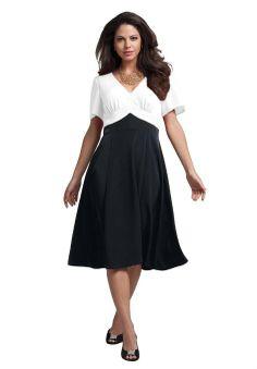 Looking into mother-of-the-bride dresses.  Amazon.com: Roamans Women's Plus Size Colorblock Empire Waist Dress: Clothing