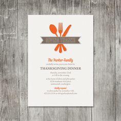 Modern Utensils Thanksgiving Invitation. $2.50, via Etsy.