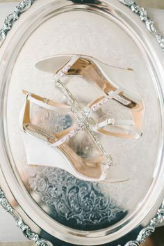 Nude Badgley Mischka wedges adorned with glittering gems elongate the legs with a touch of sparkle. White Lace Heels, Unique Wedding Shoes, Jeweled Shoes, Manolo Blahnik Heels, Bride Photography, Shoes Photo, Bride Shoes, Cream And Gold, Jewel Tones