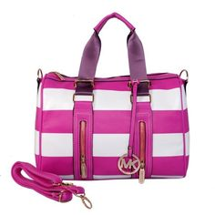 Michael Kors Striped Travel Large Pink White Satchels Outlet