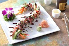 California Grill - New California Grill menu - California Grill Dragon Roll with spicy and tataki tuna, shrimp tempura, bell pepper, avocado and chili-soy glaze