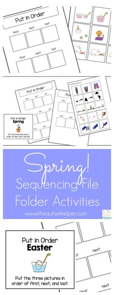 Freebie! This deliciously cute & functional Spring Sequencing File Folder Activities are challenging yet doable for multiple levels of learners! From theautismhelper.com
