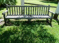 lichen covered antique bench