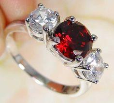 Quartz Garnet & 925 Silver Handmade Beautiful Ring Size O & gift box
