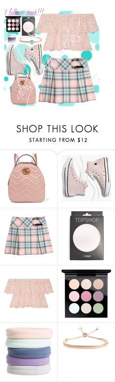 """P A S T E L • P A R A D I S E"" by abigail-fredricks ❤ liked on Polyvore featuring Gucci, Madewell, Topshop, Miguelina, MAC Cosmetics, L. Erickson, followme, pastels and followforfollow"