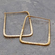 Gold Square Hoop Earrings #SterlingSilverClothes