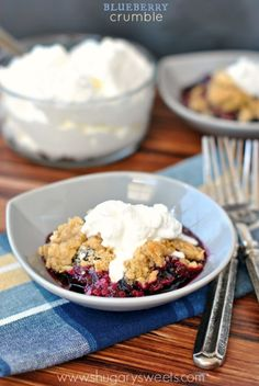 Blueberry Lime Crumble: fresh blueberries and a thick layer of crumble make this the perfect dessert. Don't forget the homemade whipped cream