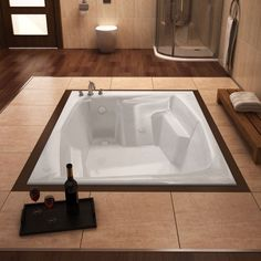 Product Features: - 53.75 in L x 71.75 in W x 23 in H - Soaking bathtub - Safe for bathing salts and aromatic oils for a deep, relaxing soak - Solid, one piece, acrylic construction with non-porous su