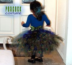 Peacock Costume for Girls #PeacockCostume #TwoSistersCrafting