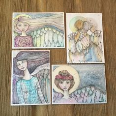 Angel ATCs Watercolor & Pencil #thedaydreamerie