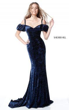Sherri Hill 51406 Navy Off the Shoulder Long Prom Dress