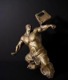 Bronze-Sculpture of an Asian muscle man signed Wu Yao Kui.