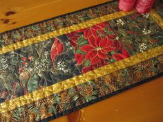 Christmas Quilted Table Runner Birds and by PatchworkMountain