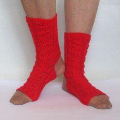 Yoga Socks Dance Pilates Ballet Red Leg Warmers by Initasworks
