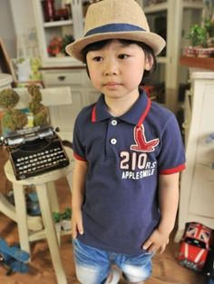 2013 new arrival 100%cotton boy fly eagle pattern casual children polo shirt