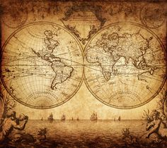 World Map Wall Mural - Vintage Old Map of The World 1733 - Peel and Stick Fabric Wallpaper - Re-positionable Wallpaper - World Map Mural Antique World Map, Old World Maps, Antique Maps, Karten Tattoos, World Map Tapestry, Tapestry Wall, World Map Wallpaper, Photo Wallpaper, Art Carte