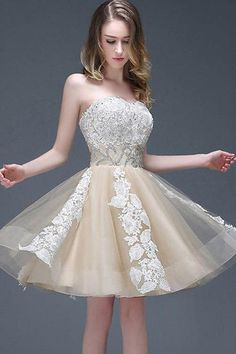 Strapless Sweetheart Appliqued Homecoming Dress With Beading Waist Elegant Prom Dress