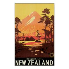 Vintage Mount Egmont New Zealand Travel Poster