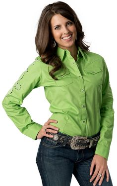 Wrangler Women's Lime Green w/ Silver Embroidery and Black Studs Long Sleeve Performance Western Shirt