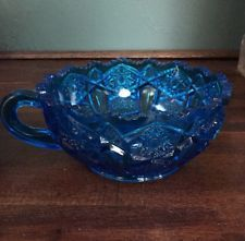 "Vtg L.E. Smith Pressed Blue Glass Handled Nappy Bowl Quintec Heritage 5.5"" Set 2"