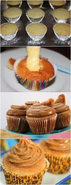 Delicioso CUPCAKE DE CHURROS..VEJA AQUI>>>Preaqueça o forno a 180°C Coloque as forminhas de papel na assadeira de cupcake #receita#bolo#doce#sobremesa#aniversario#pudim#mousse#pave#Cheesecake#chocolate#confeitaria