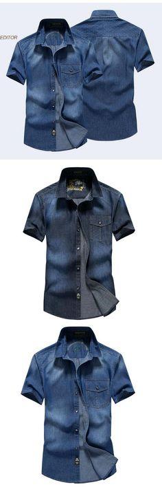 2017 Summer New Short Shirt Mens leisure Cowboy Shirt Cotton Short Sleeve Denim Shirts Fashion Man Tops Casual CowboyShirt