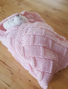 Pink Baby Blanket  Hand Knit Basketweave by BiziKnitting4You