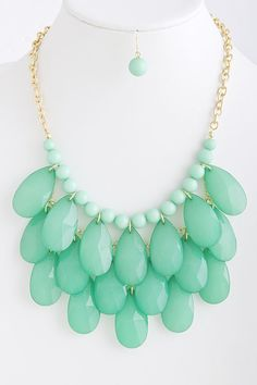$25.50 Cascade Falls Necklace in Mint