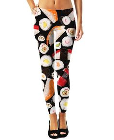 Sushi Leggings and You: Help everyone around you enjoy their happiness for the day with your new Rockstar Sushi Leggings. Grab life one spicy tuna roll at a time with these rad sushi collectable. These sexy stretch pants have your favorite sushi rolls in this vibrant all-over-print design! Get these fully sublimated Sushi Leggings today and live life raw.  Sushi Leggings Features:  -Hand Cut & Sewn in USA -100% Specially Spun Polyester -HD All-Over Graphic Print -Pre-Shrunk 2 Way Stretch ...
