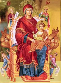 Theotokos Enthroned with the Christ Child, Kings David and Solomon, and possibly the Prophet Isaiah & St. Religious Images, Religious Icons, Religious Art, Jesus Christ Images, Jesus Art, Byzantine Icons, Byzantine Art, Madonna, Greek Icons