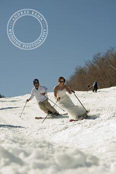 Andree Kehn Wedding Photography, bride & groom on skis, offbeat