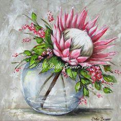 Art by Stella Bruwer Protea Art, Protea Flower, Fabric Artwork, Fabric Painting, Watercolor Flowers, Watercolor Paintings, Stella Art, Polychromos, Acrylic Art