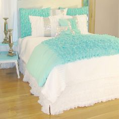 Turquoise Chiffon Duvet Cover - modern - duvet covers - Rosenberry Rooms